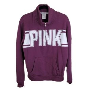 PINK BY VS Pullover 1/4 Zip Maroon Oversized || M